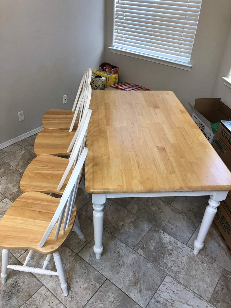 Lot # 58 - Farmhouse 5 piece dining table (main image)