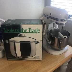 Lot # 69 - KitchenAid/Hobart Mixer with Accessories and 12 Quart Stock Pot
