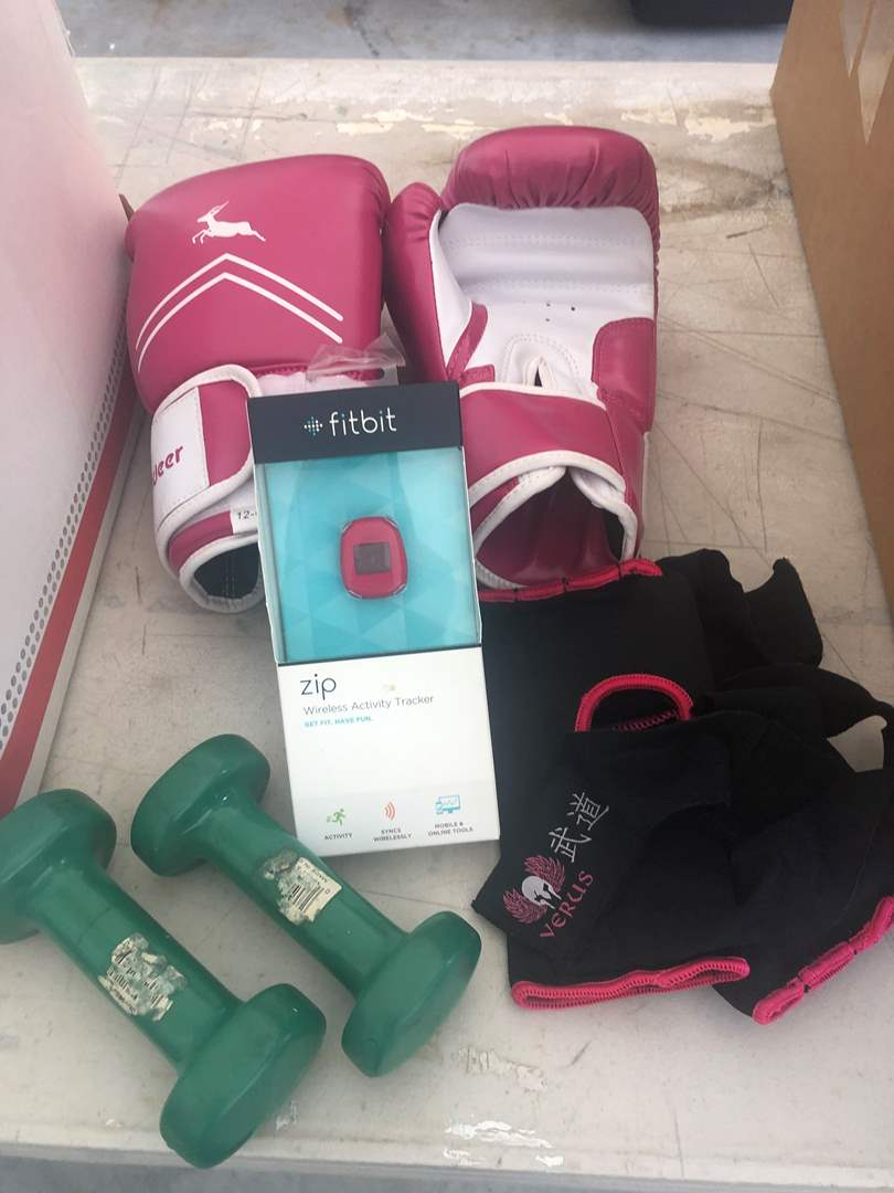 Lot # 77 - Exercise Paraphernalia, DVD's and Scale  (main image)