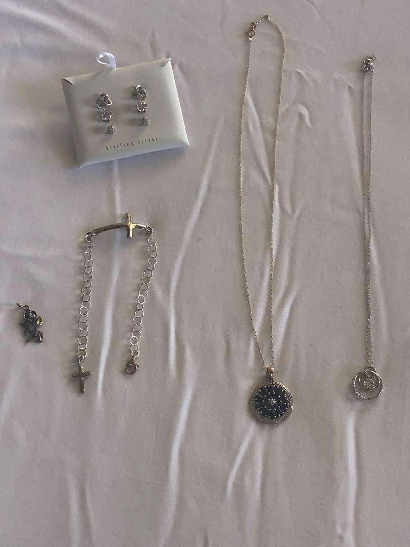Lot # 91 - 925 Sterling Silver Pendants, Chains, Braclet, and Earings, stones are CZs (12.1g)  (main image)