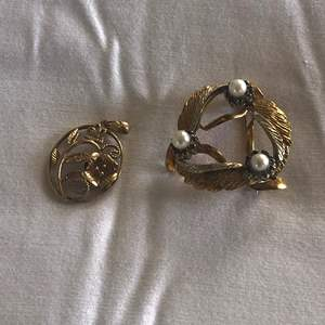 Lot # 92 - 18K Gold Brooch with Semi Precious Stones, 14K Gold Pendant (Total Weight 7.4g)
