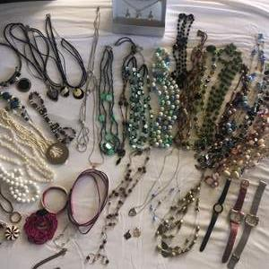 Lot # 90 - Assortment of Costume Jewelry, Necklaces, Bracelets and Watches