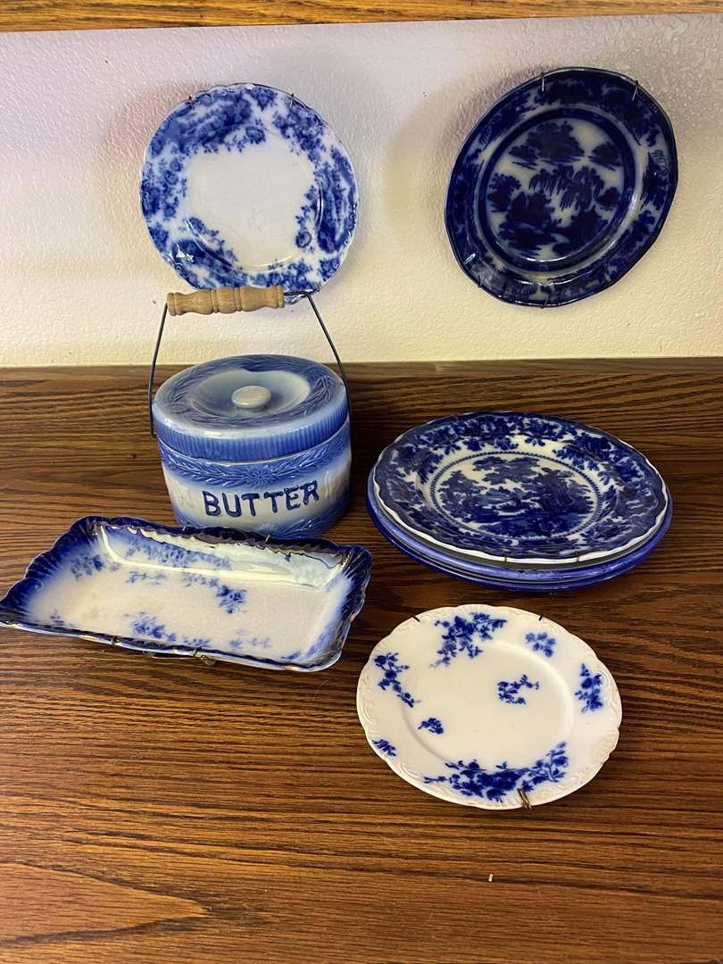 Lot # 653 - Antique Flow Blue Pieces Plus a Butter Tureen (main image)