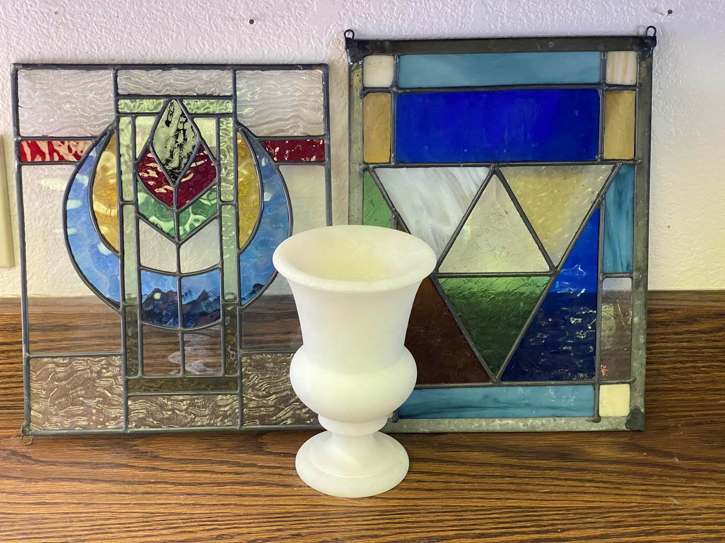 Lot # 659 - Two Small  -  Stained Glass Windows & Alabaster Vase (main image)