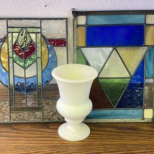 Lot # 659 - Two Small  -  Stained Glass Windows & Alabaster Vase