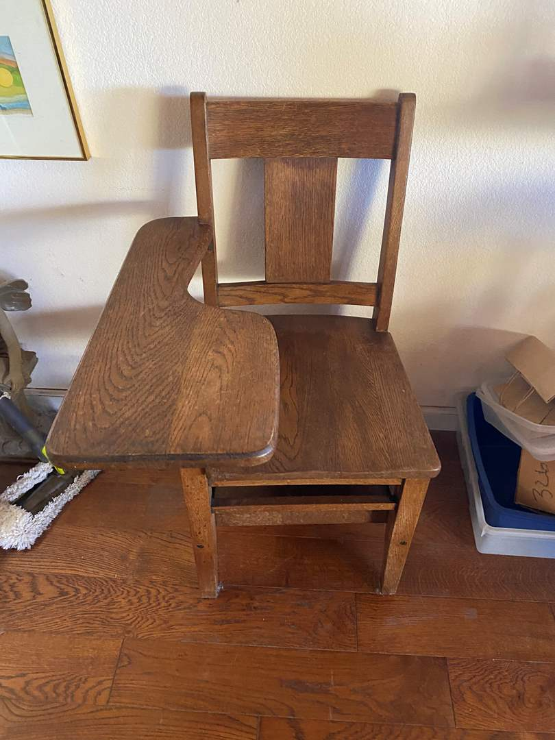 Lot # 669 - Vintage Wood School Desk with Chair (main image)
