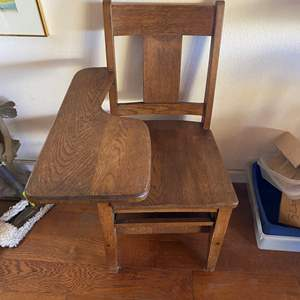 Lot # 669 - Vintage Wood School Desk with Chair