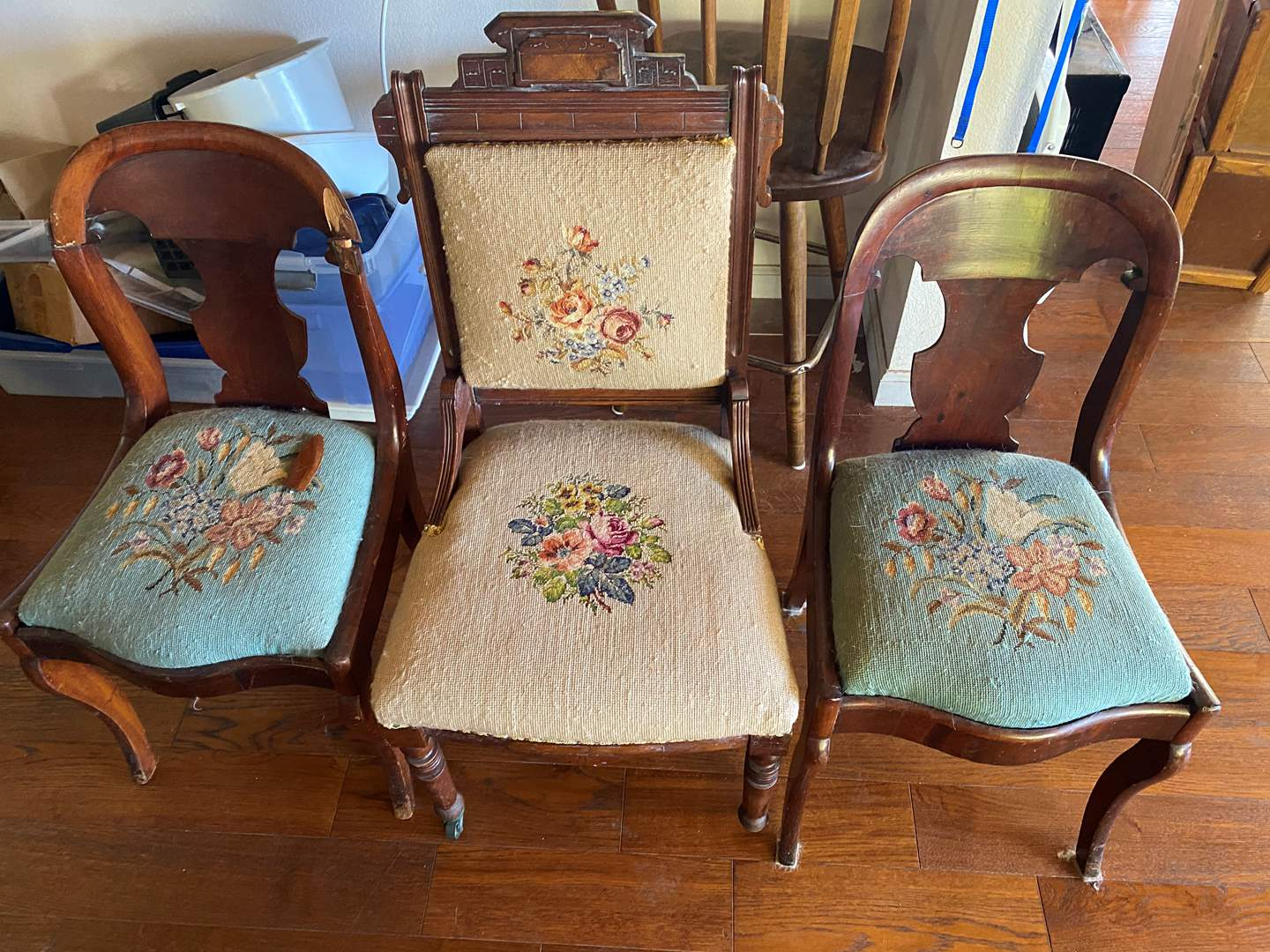 Lot # 682 - Three Antique Needlepoint Chairs (main image)