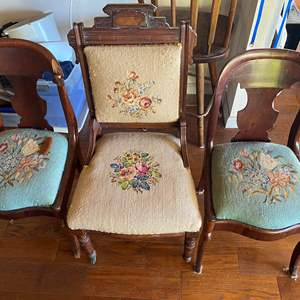 Lot # 682 - Three Antique Needlepoint Chairs