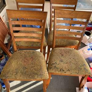 Lot # 694 - Set of 4 Chairs - one needs repair