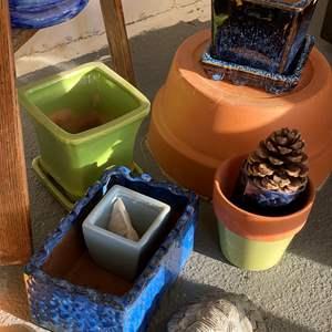 Lot # 695 - Pots & Plant Stand