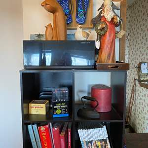Lot # 718 - Bookcase with Books, Cd's, Decor and Wall Art