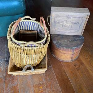 Lot # 724 - Antique Wooden Hat Box and Decor