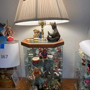 Lot # 366 - Glass Display with Lamp and Contents