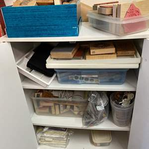 Lot # 439 - Cabinet With Rubber Stamps & Art Supplies