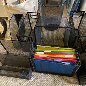 Lot # 444  - Organizational Metal Bins, Baskets & Planner