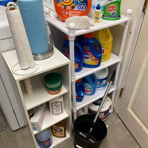 Lot # 446 - Laundry Room Cleaning Supplies w/Shelves