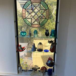 Lot # 661 - Stained Glass Art and Shelf Contents