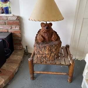 Lot # 706 - Vintage Carved Bear Lamp & Stool