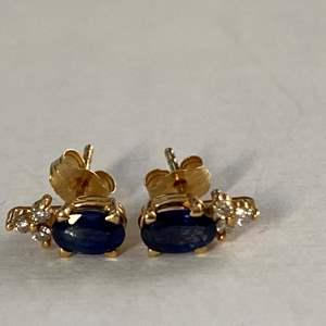 Lot # 740 - .25 CTW Sapphire Earrings set in 14k Gold w/Diamond Chips