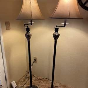 LOT # 5 - Pair of Swivel Swing Arm Floor Lamps
