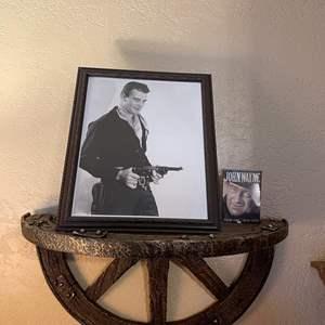 LOT # 6 - Young John Wayne Framed Picture/ John Wayne Playing Cards/ Wall Shelf