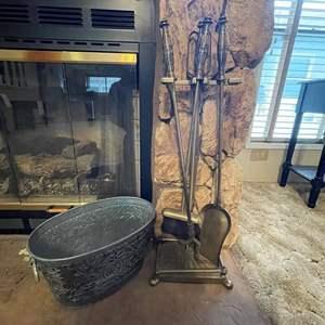 LOT # 8 - Fireplace Tool Set/ Metal Decorative Bucket