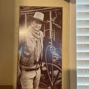 LOT # 9 - John Wayne Pictures/ Metal Sign