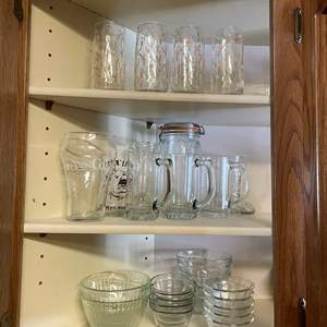 LOT # 19 - Tall Glasses/Glass Mugs/ Glass Bowls