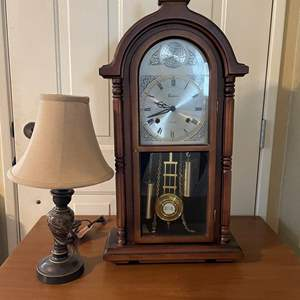 LOT # 26 - Vintage Centurion 35 Day Wind-Up Chiming Wall Clock With Key/Mid Size Table Lamp