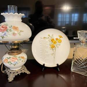 """LOT # 30 - Vintage Accurate Casting Hurricane Lamp/ Vintage Clear Glass Decanter/ Porcelain """"Moments of Inspiration"""" Plate"""