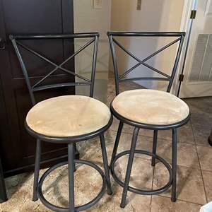 LOT # 37 - Pair of Metal Bar Stools w/Cloth Seats