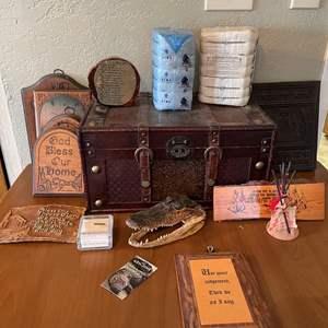LOT # 47 - Decorative Wood Box with Assorted Wood Decorations, Authentic Pima Cotton Decorative Bales