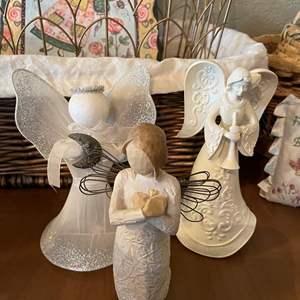 LOT # 48 - Home Decor/Angel Figurines/ Wicker Baskets
