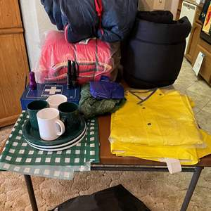 LOT # 59 - Sleeping Bags, Rain Gear, Camping Cookware