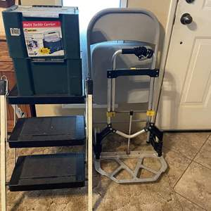 LOT # 62 - Foldable Dolly, Cosco stepladder, Mutl- Tackle Carrier full of hardeware, Metal Chair