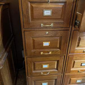 LOT # 84 - Solid Wood Filing Cabinet With Lock and Keys ( Matches Lot # 83 )