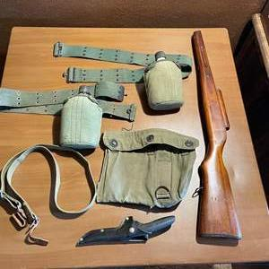LOT # 92 - Vintage Military Water Canteens With Belts, Gas Mask Pouch, Chicago Cultry Knife