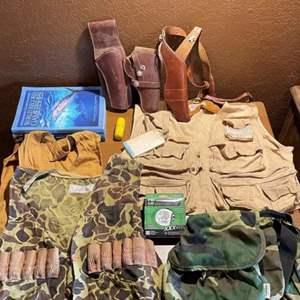 LOT # 95 -  Hollywood Gun Shop Leather Holster , Skeet Shooting Vest, Fishing Vest, Fishing Line