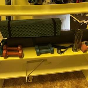 LOT # 96 - Exercise Equipment, Yoga mats, dumbbell weights, Men's Casio Watch