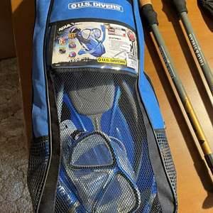 LOT # 97 - Field & Steam Walking Sticks, New Snorkeling Kit, Nike Cycling Gloves