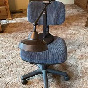 LOT #  110 - Swing Arm Desk Lamp, Office Chair