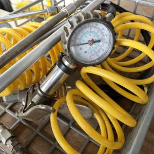 LOT #  128 - Compressor Accessories (air chuck/blow attachment/air hose/ pressure gage)