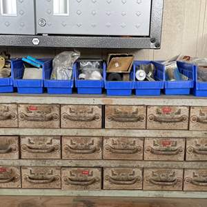 LOT #  130 - Vintage Industrial Metal Parts Storage Bins, Plastic Cubby Storage Bins, All Contents Included