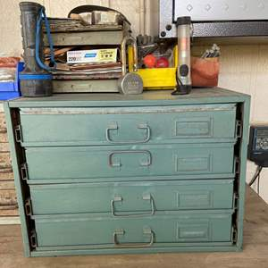 LOT #  131- Vintage Metal Sliding Drawer Hardware Storage, All Contents Included