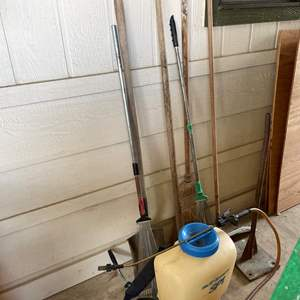 LOT #  133 - SP Systems Backpack Sprayer, Metal Hand tamp, and Assorted Gardening Tools