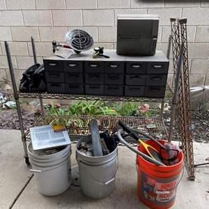 LOT #  135 - Vintage Metal Parts Storage With Contents, Propane Heater Attachment, NSF Rack, Regulator Valve
