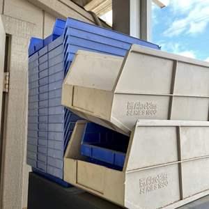 LOT #  136 - 4ft McDowell & Craig Filing Cabinet/ Assorted Plastic Organizing Bins