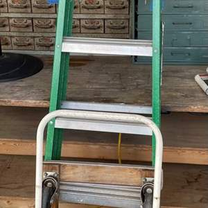 LOT # 137 - Gorilla Ladder 6 Foot, Stepladder and Furniture Dolly on Casters/ Security Mirror