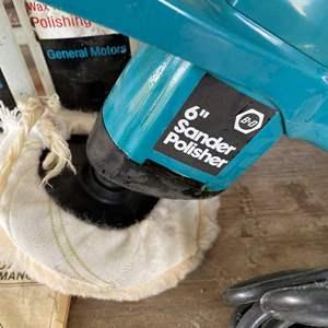 "LOT #  138 - Black & Decker 6"" Sander Polisher/ Vintage GM Polishing Cloths/ Lambswool Polishing Bonnet"